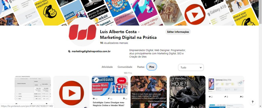 pinterest marketing digital perfil